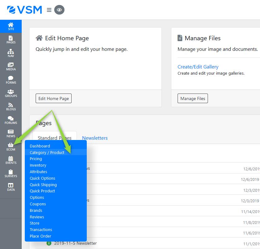 Ecom Category/Product Screenshot