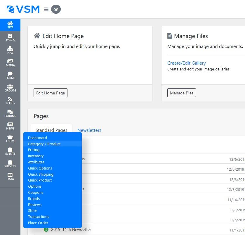 VSM Site Screenshot