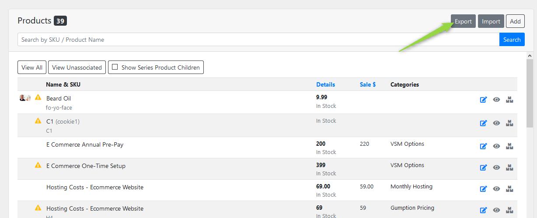 Export Product Screenshot