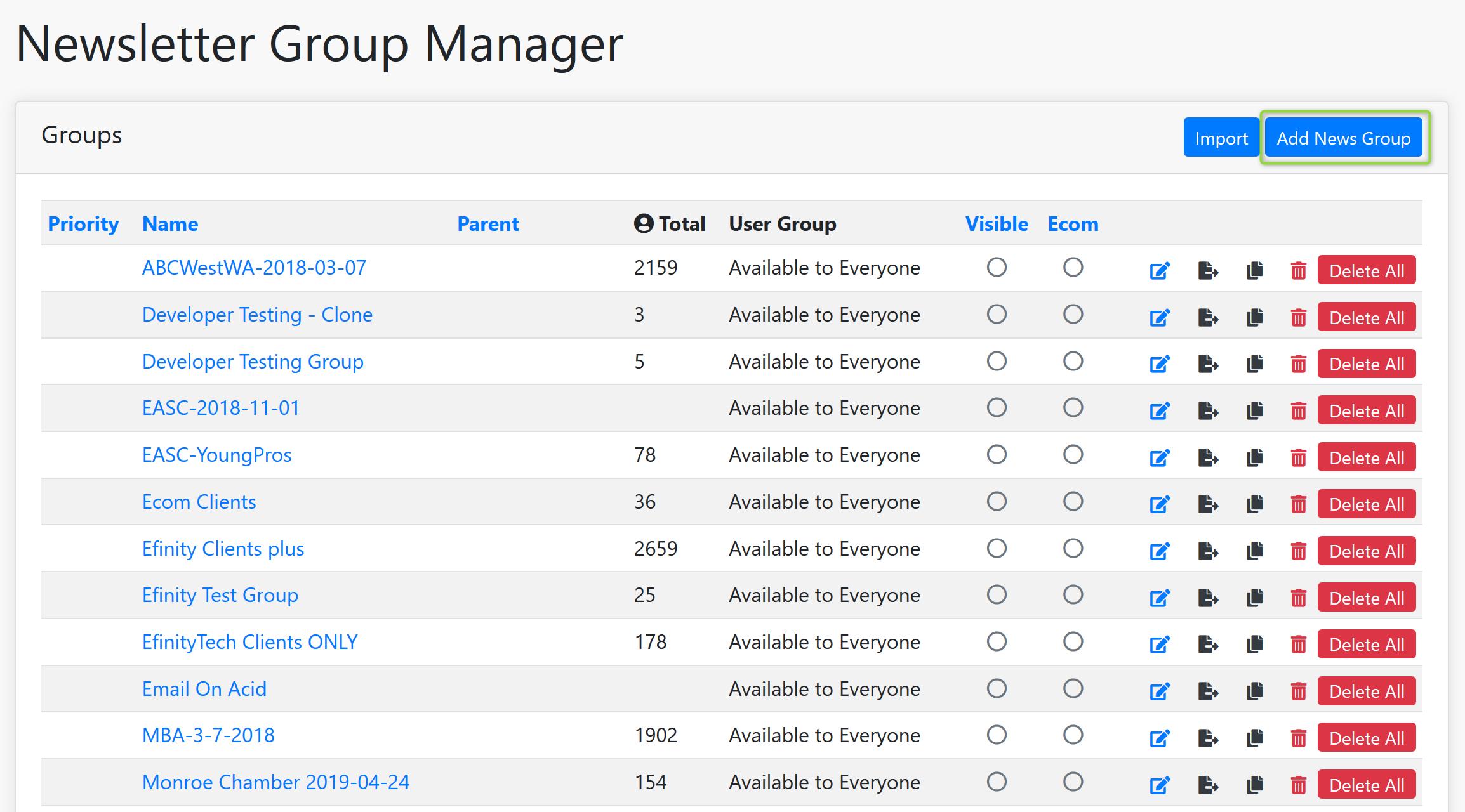 Newsletter Group Manager Screenshot