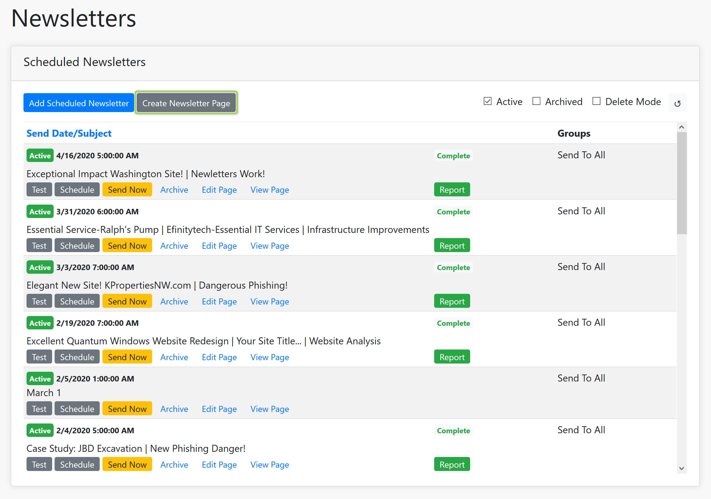 Create Newsletter Page Screenshot