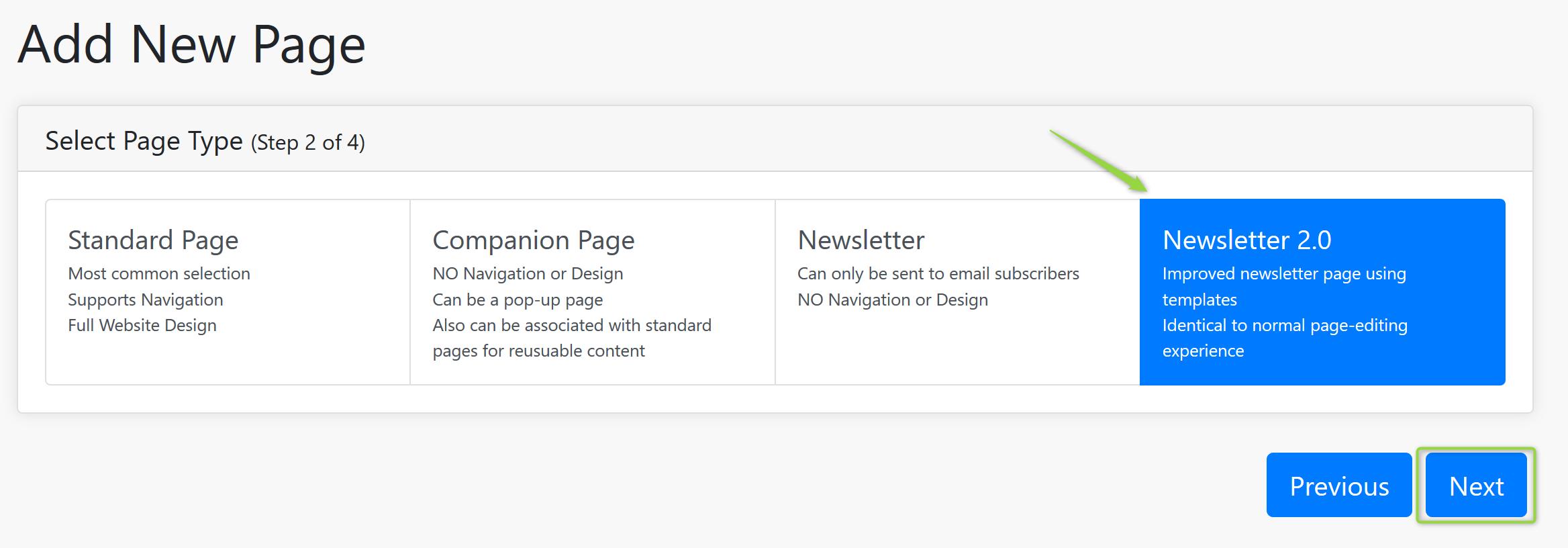 Add New Page Screenshot