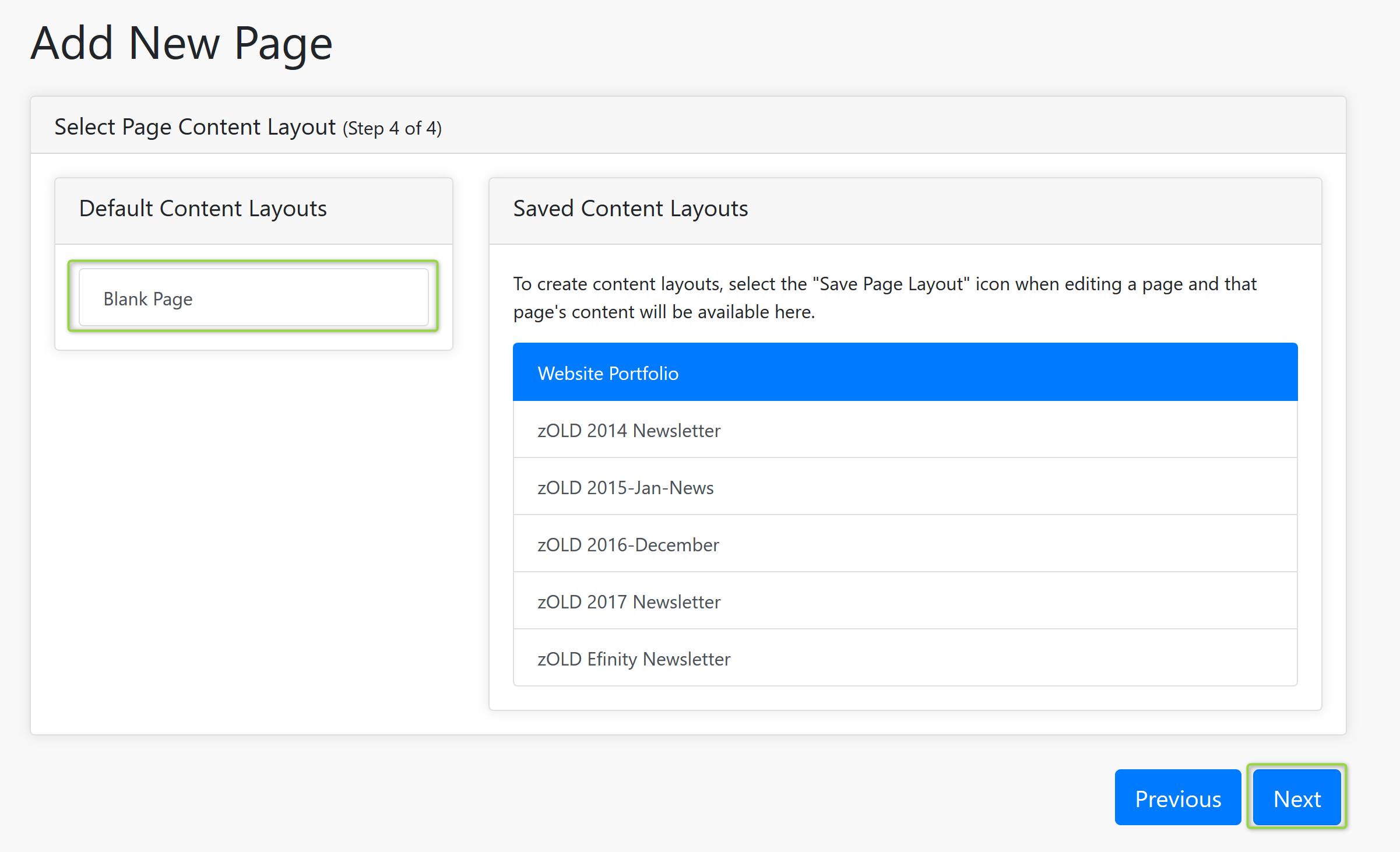 Content Layouts Screenshot