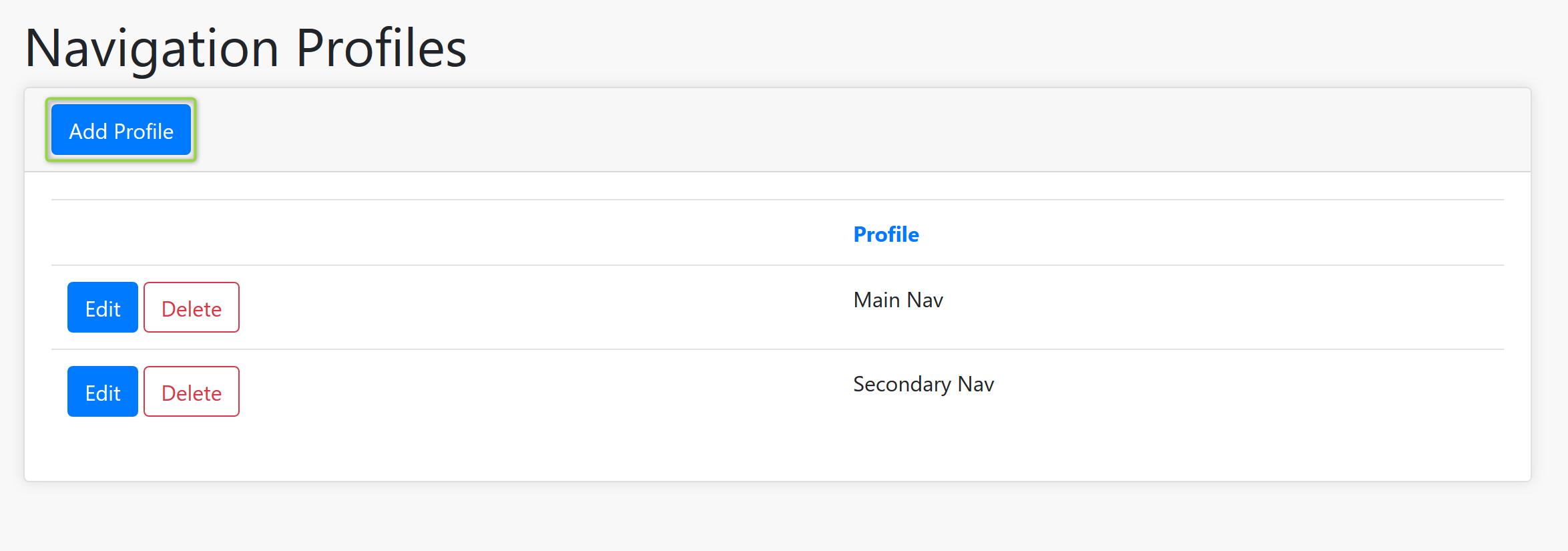 Navigation Profiles Screenshot