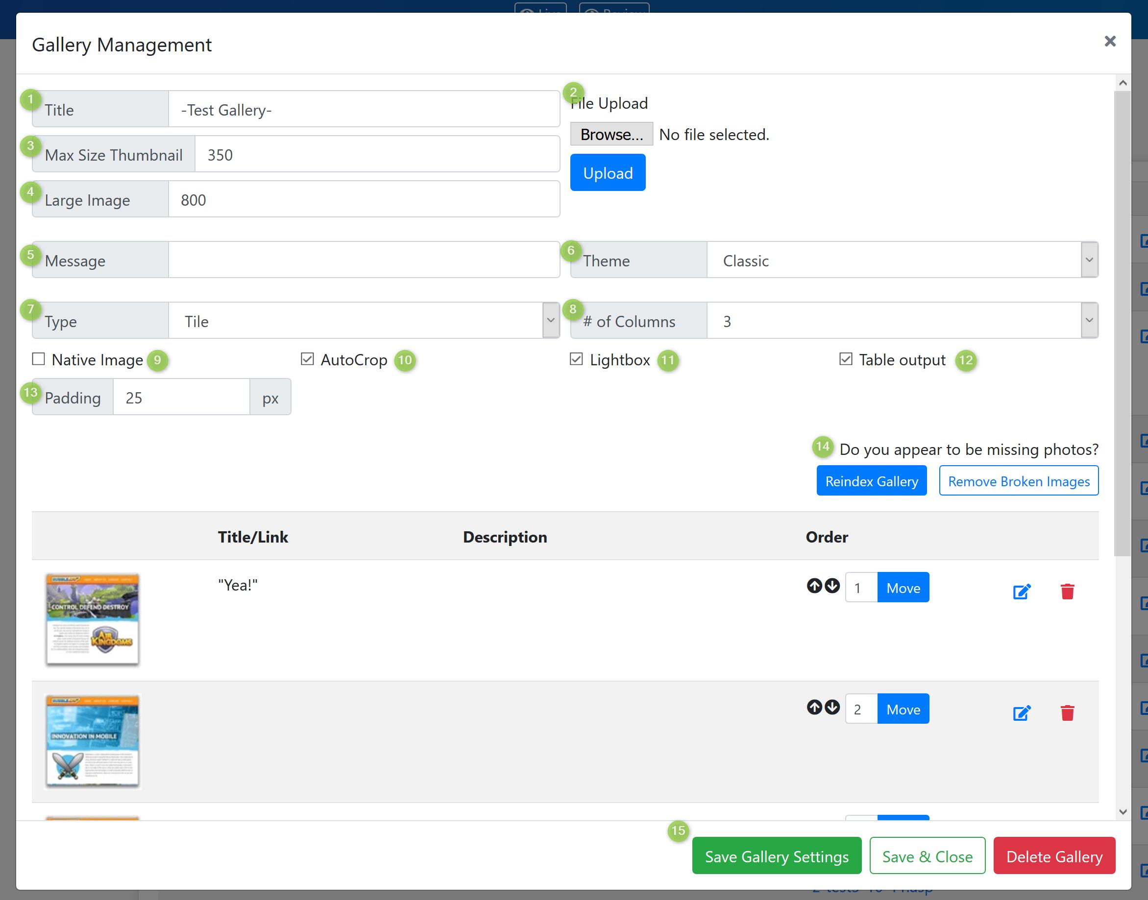 Gallery Management Screenshot