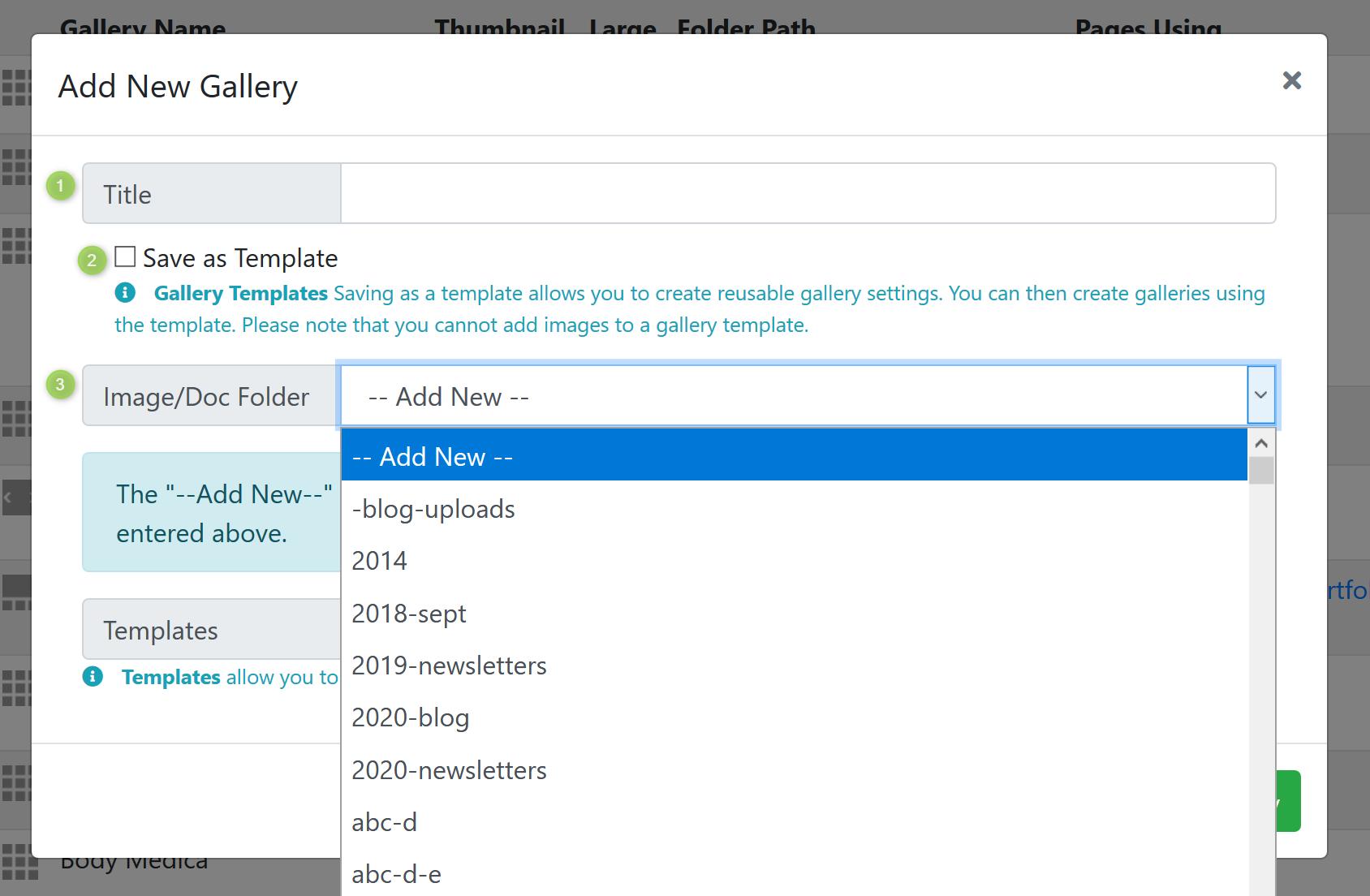 Gallery Information Screenshot