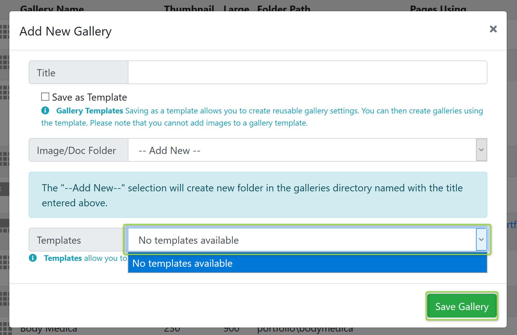 New Gallery Template Screenshot