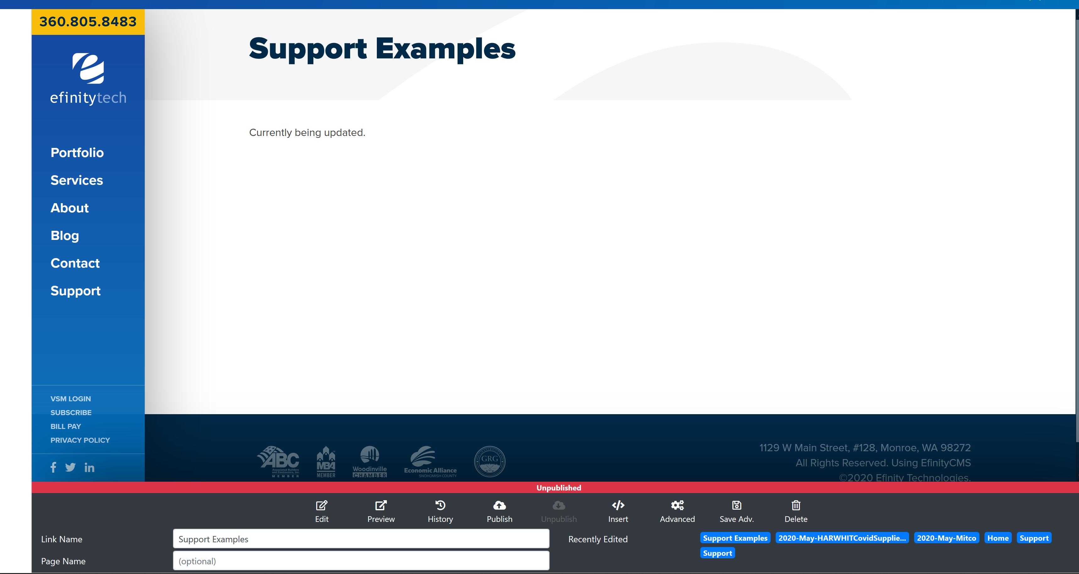 Support Examples Screenshot