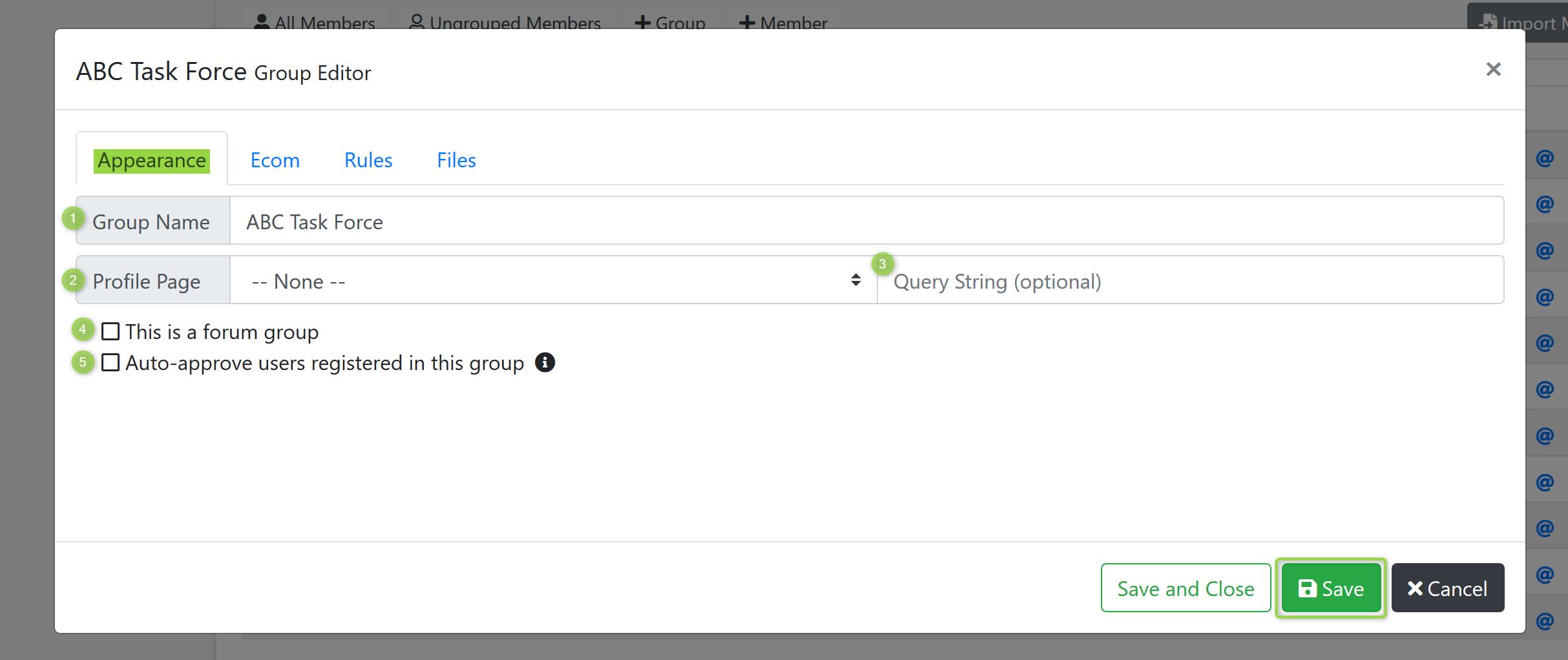 Group Editor Screenshot