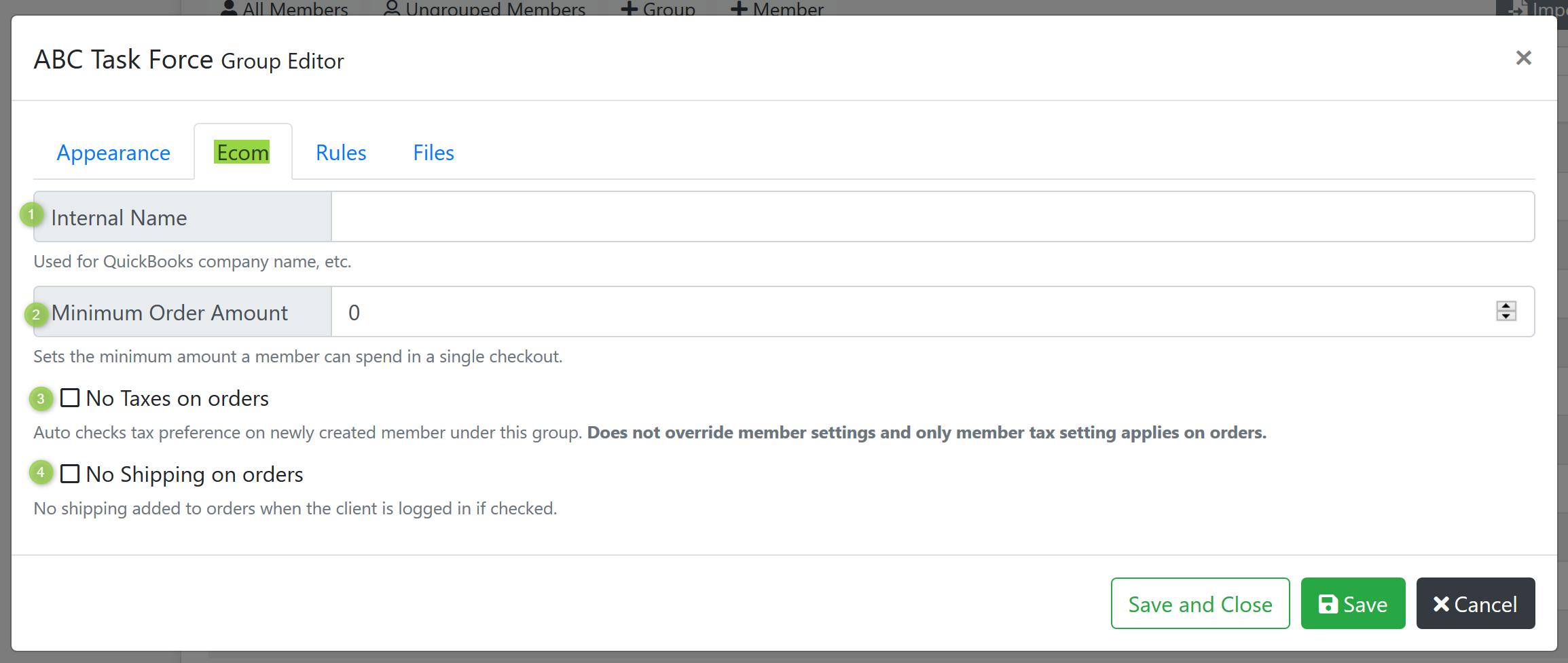 Group Editor Ecom Screenshot