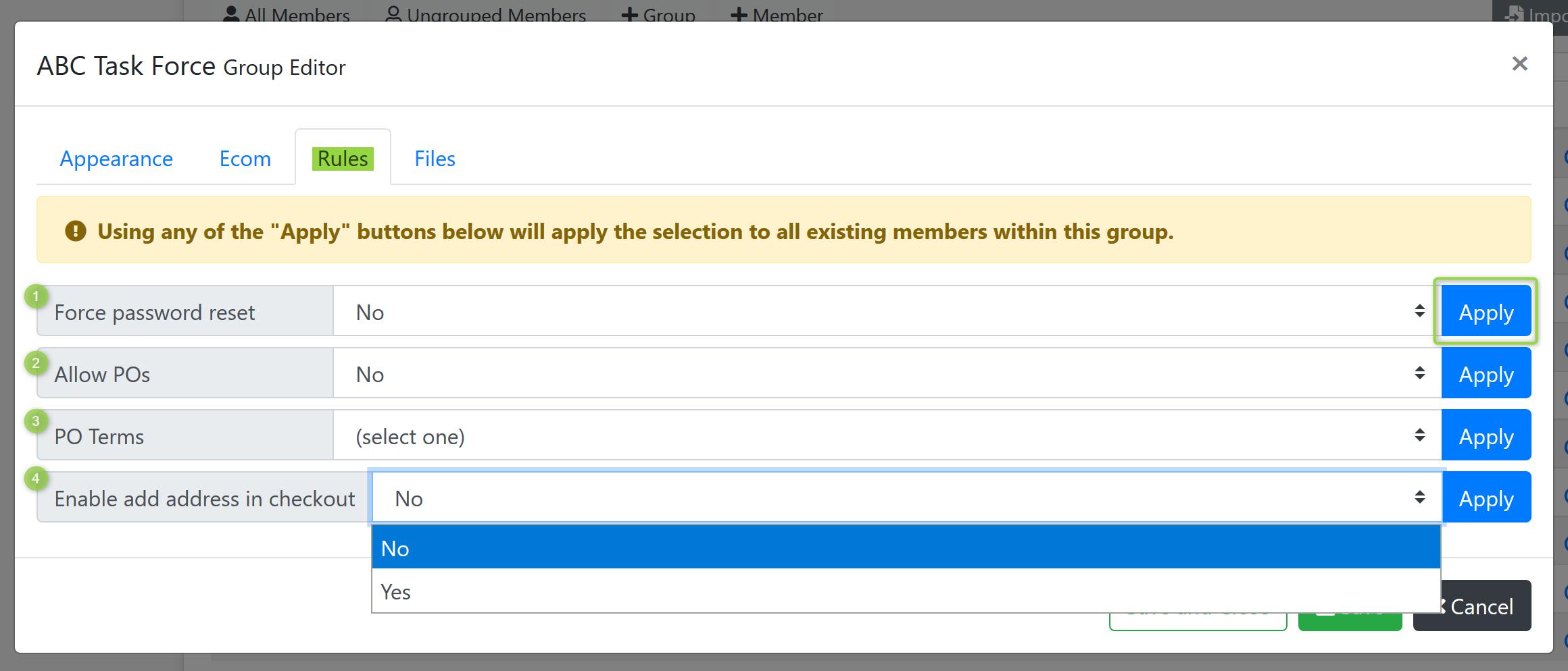 Group Editor Rules Screenshot
