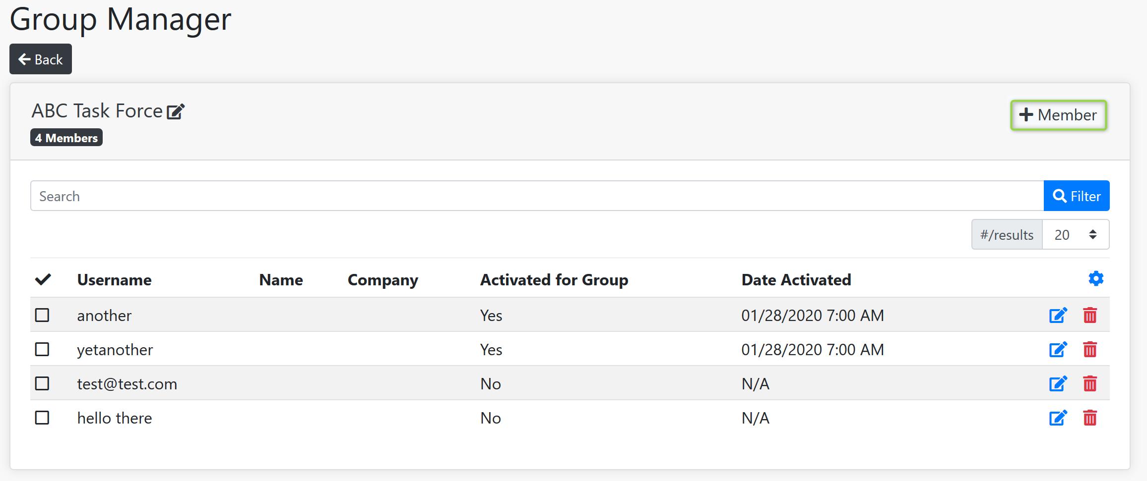 Add Group Member Screenshot