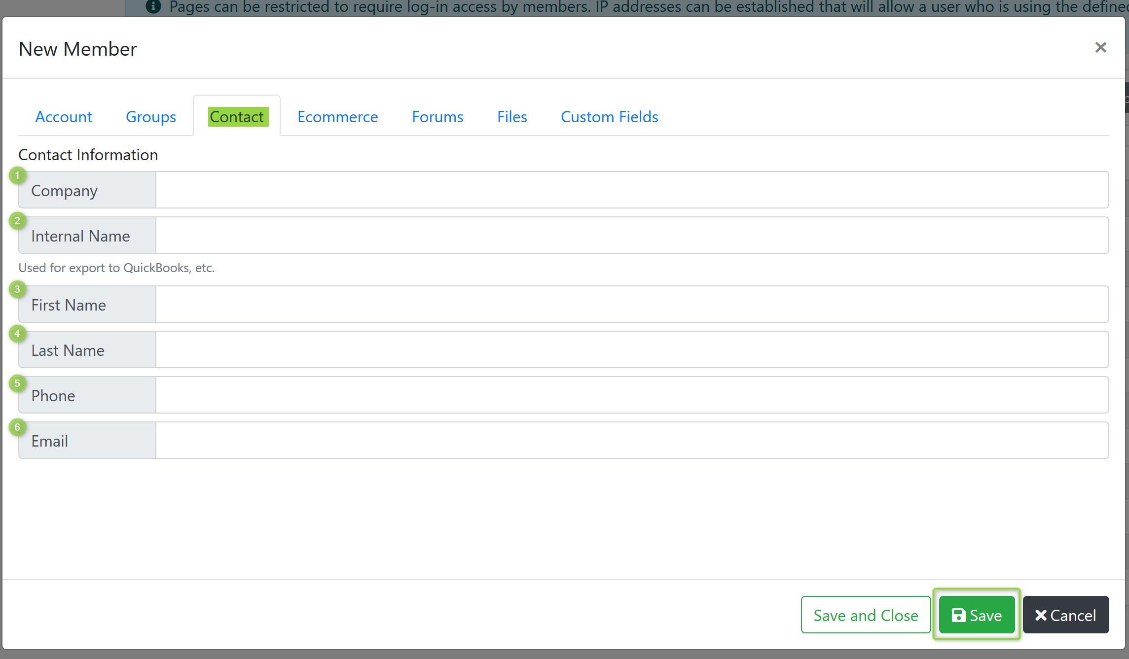 New Member Contact Screenshot