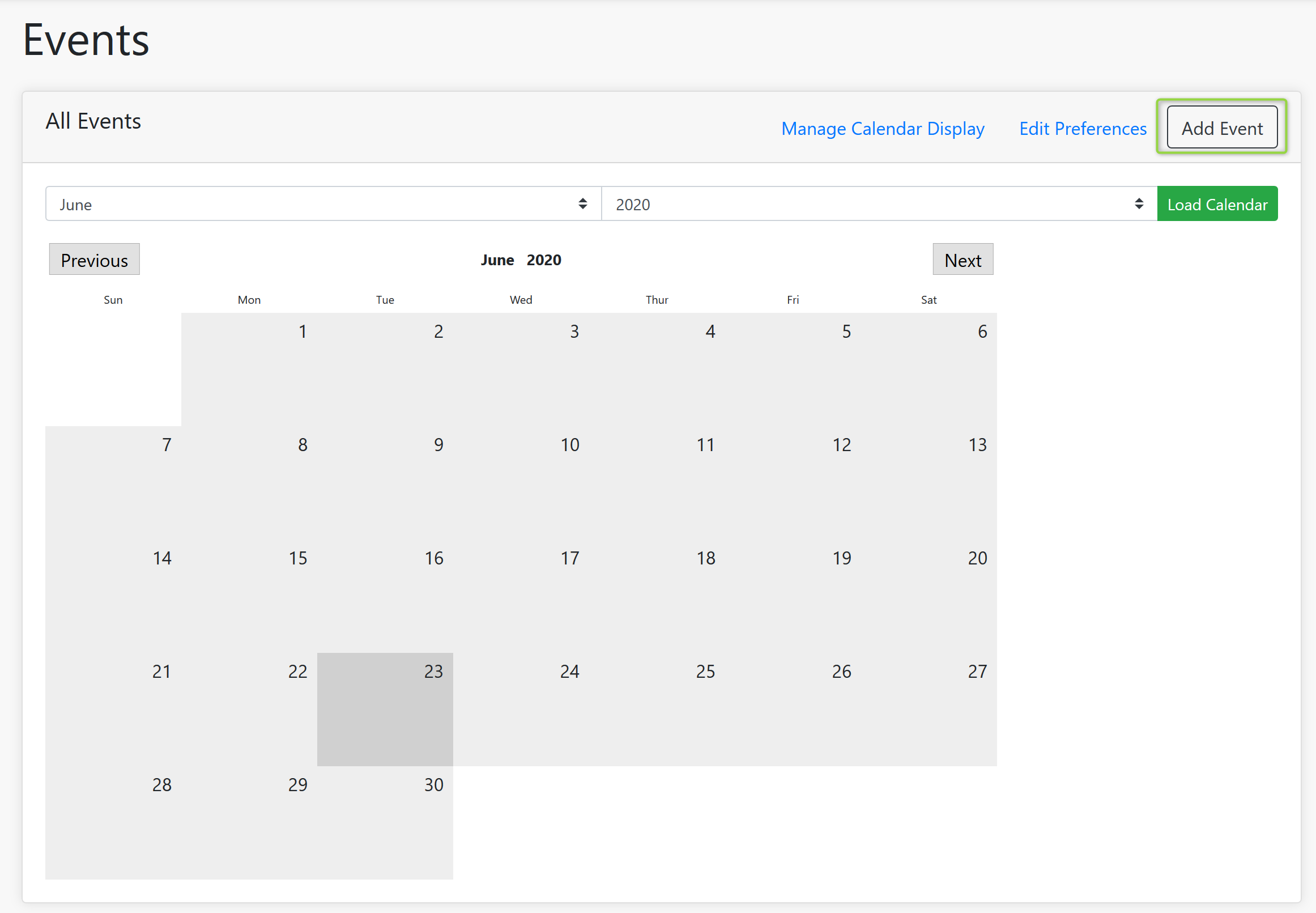 Events Screenshot