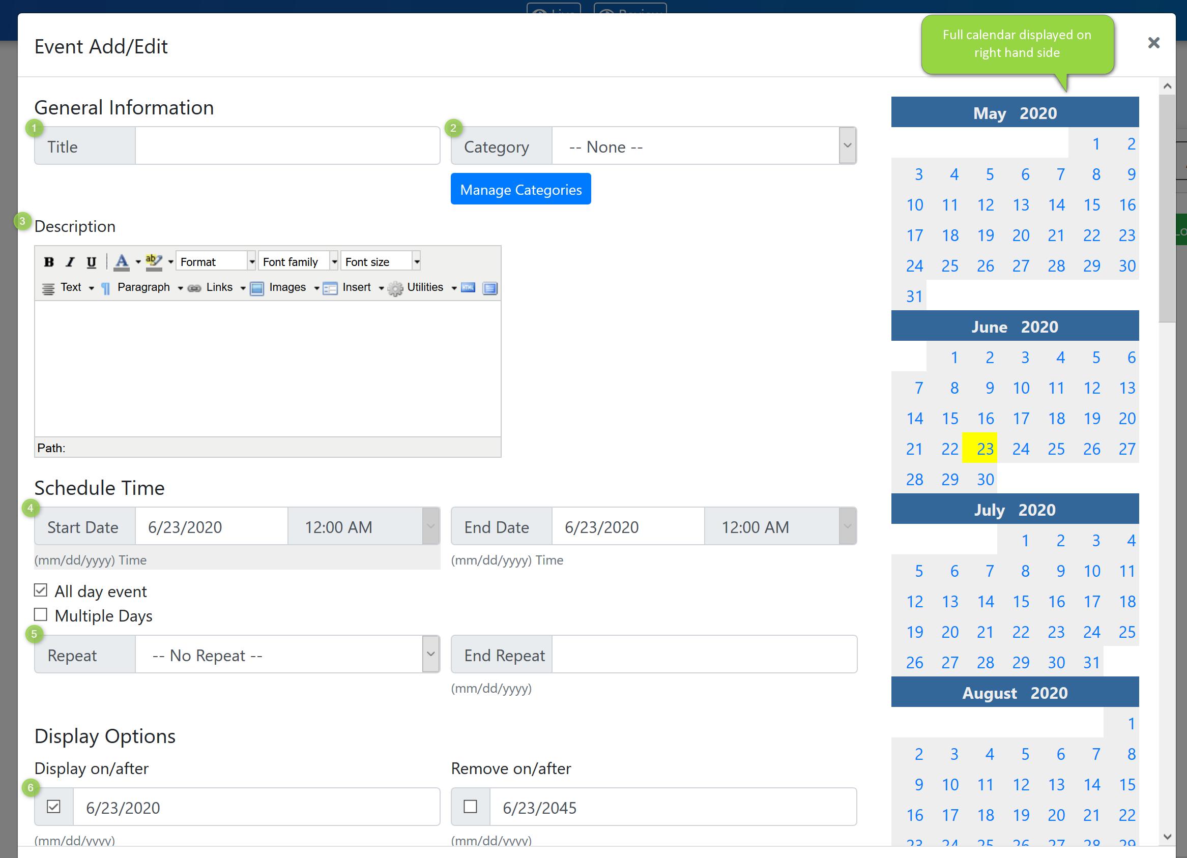 Add/Edit Event Screenshot