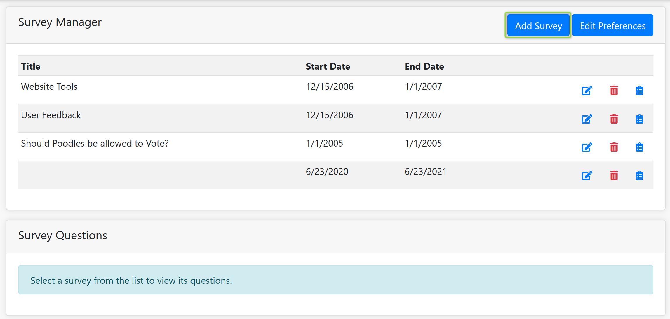 Survey Manager Screenshot