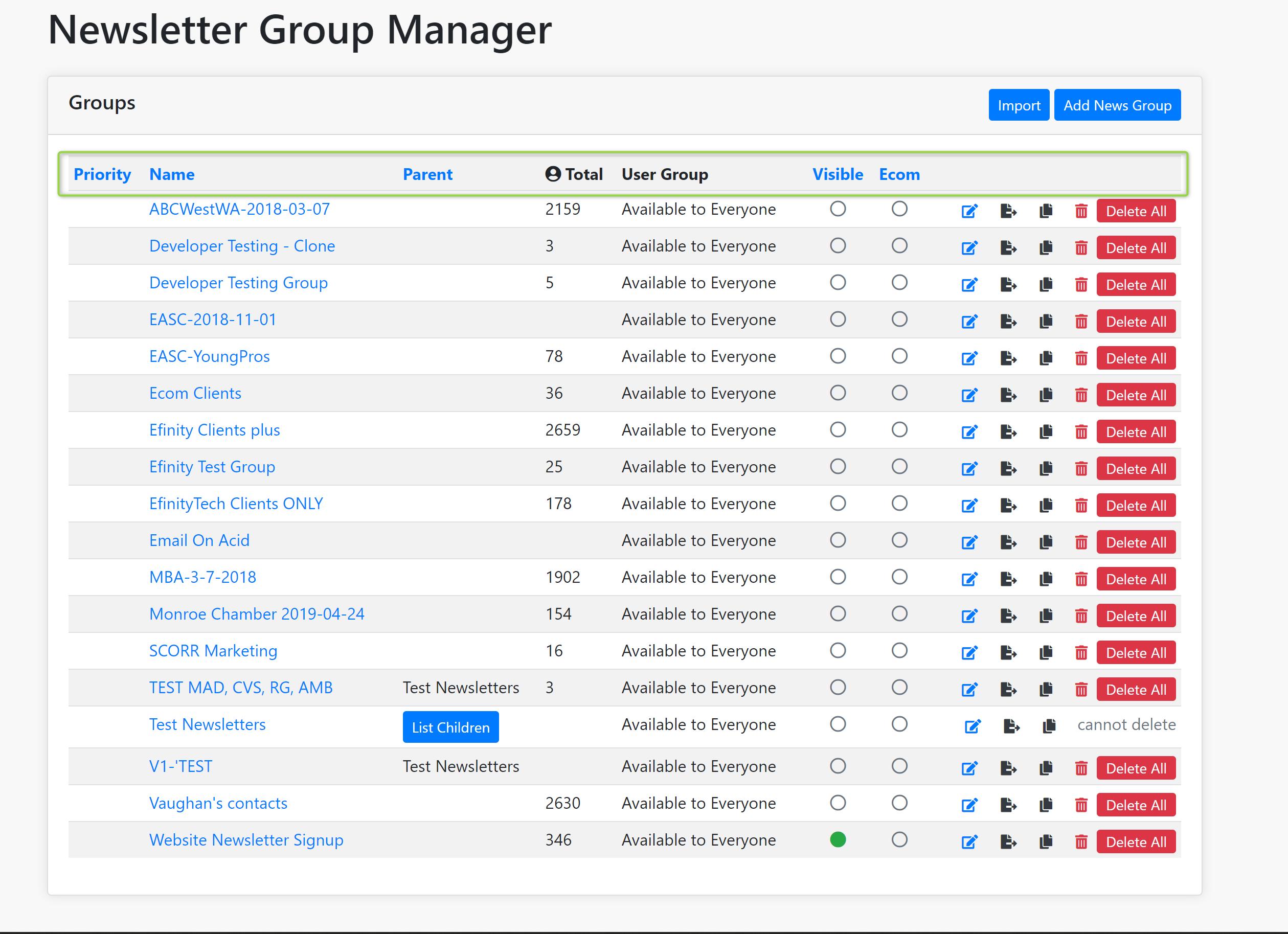 Newsletter Group Manager Information Screenshot